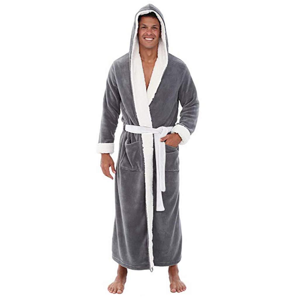 Mens Fleece Solid Coloured Robe, DIKEWANG Men's Plush Lengthened Shawl Bathrobe Home Clothes Long Sleeved Robe Coat Long Hooded Bathrobe Super Soft Men Dressing Gown Mens Hooded Robe