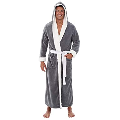 Susenstone Hommes Luxe Doux Corail Peignoir Homme Capuche Grand Taille 100%  éPonge Coton Robe De e1662b2f229e