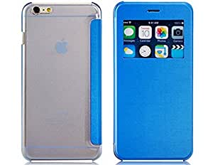 Faux Leather Flip Case with Mount Stand & Window Display for iPhone 6 Plus 5.5'' (Blue)