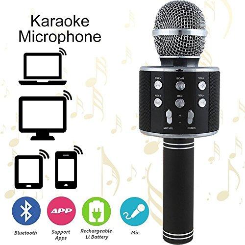 Wireless Portable Karaoke (Wireless PortableKaraokeMicrophone- Bluetooth Karaoke Microphone/Handheld Cellphone Karaoke Player for iPhone or Android Smartphone & PC)