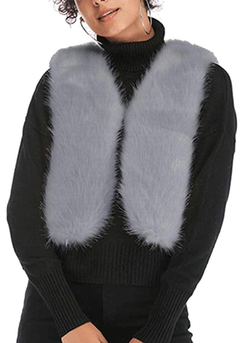 Generic Womens Fluffy Faux Fur Vest Sleeveless Waistcoat Jacket Gilet Shrug Coat