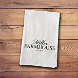 A Gift Personalized Tea Towels - Farmhouse Style - Family Name