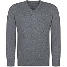 Great and British Knitwear Men's Lambswool Plain V Neck Sweater Made In Scotland
