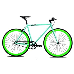Golden Cycles Fixed Gear Bike Steel Frame Fixie with Deep V Rims Collection (Striker Neon Green, 48)