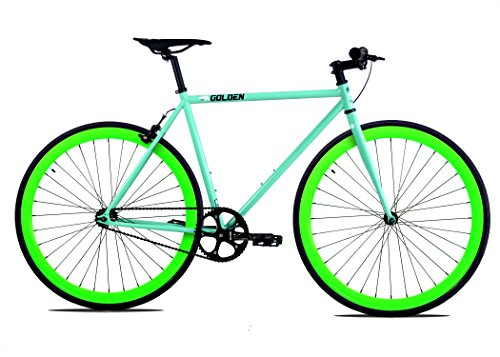 Golden Cycles Fixed Gear Bike Steel Frame Fixie with Deep V Rims Collection (Striker Neon Green, 55)