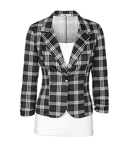 (Auliné Collection Women's Casual Work Solid Color Knit Blazer Black Checker Large)