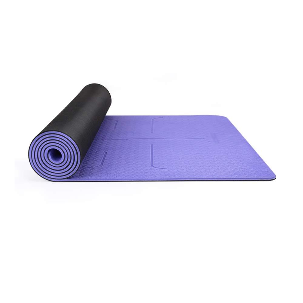 XF ヨガ マット ヨガマット - 天然ゴムの滑り止め水を吸収するヨガフィットネスピラティススポーツマットヨガマット フィットネストレーニング (色 : 紫の)  紫の B07MRC7CDT