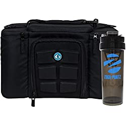 6 Pack Fitness Bag Innovator 300 Black/Neon Blue (3 Meal) w/Bonus ZogoSportz Cyclone Shaker