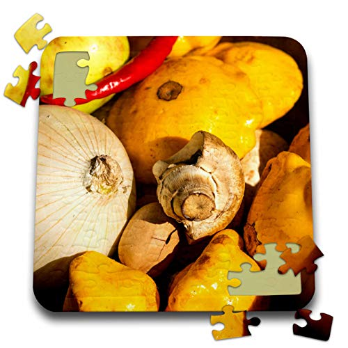 - 3dRose Alexis Photography - Food Fruits and Vegetables - A Pile of Vegetables, Onions, Chili Pepper, Mushroom and Squash - 10x10 Inch Puzzle (pzl_304527_2)