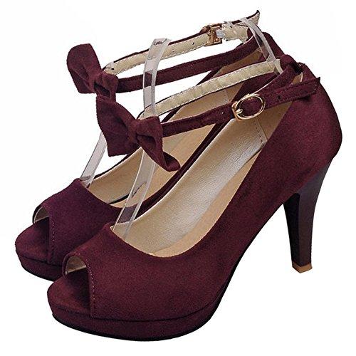 TAOFFEN Ankle Shoes Sandals Women Bow Claret 6 Strap PO5wPqx1r