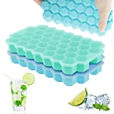 Upgrade Ice Cube Trays, TGJOR 2 Pack Silicone Flexible Ice Cube Trays with Lid, 74 Cubes Ice Trays for Chilled Drinks, Whiske