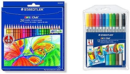 Staedtler - Pack 24 lápices de colores Noris club + 12 rotuladores ...