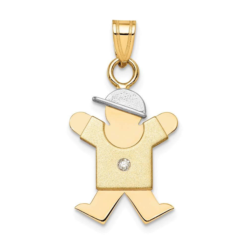 I1 clarity, G-I color Jewelry Adviser Pendants 14k Two-tone AA Diamond Kid Pendant Diamond quality AA