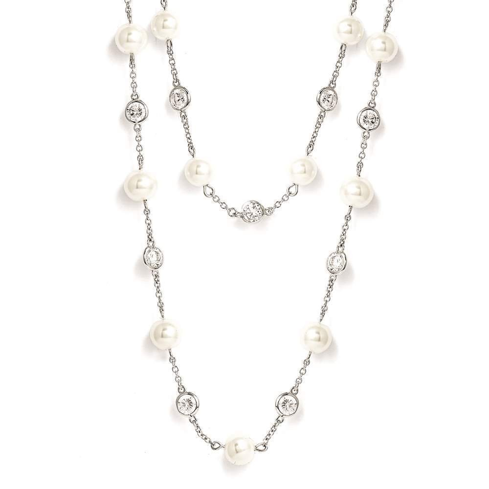 Cheryl M - 925 Sterling Silver Clear CZ & Glass Pearl Layered Necklace 36'' by Venture Cheryl M Collection