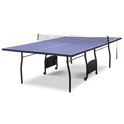 HLC High Specification 9FT Full Size Indoor Table Tennis Table Set U0026 Net    Blue