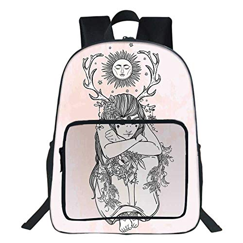 - Occult Decor School Backpack,Art Image of Naked Girl under Sun Sublime Fairy of Nature Cosmos Nymph Deity For Teens Girls Boys,11.8