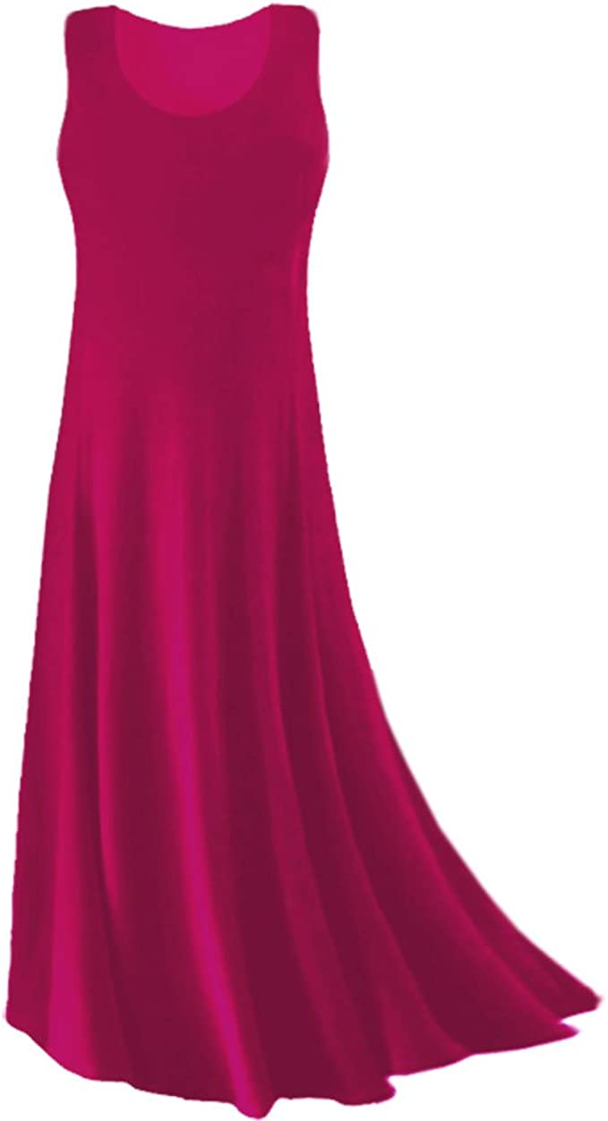 Plus Size Tank Maxi Dress Fuchsia Princess Cut Supersize Slinky