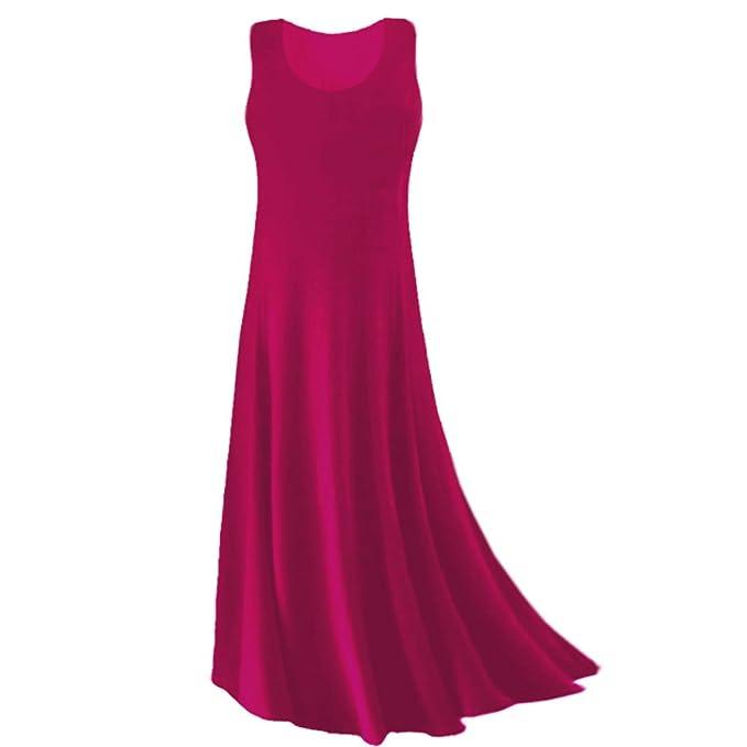 d7510387ef1 Sanctuarie Designs Women s  0x  Fuschia Princess Cut Plus Size Supersize  Slinky Tank Maxi Dress