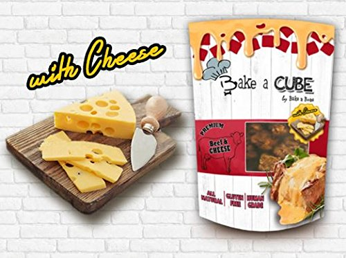 Bake a Cube Dog Treats premium grade dice Beef and Cheese dried Flavor (70 g. x 2 ()