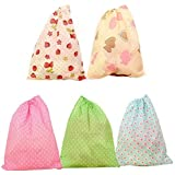 BINGONE Drawstring Bags Home Storage Travel Use Set of 5 Different Colors 14.3 X 11.7""