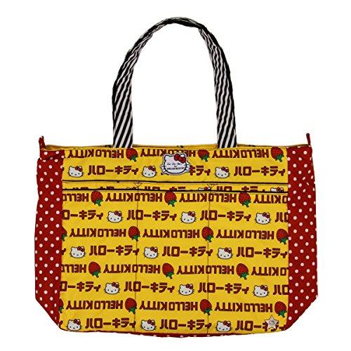 jujube Hello Kitty coleccion super Be cremallera Tote bolsa de panales, rayas de fresa
