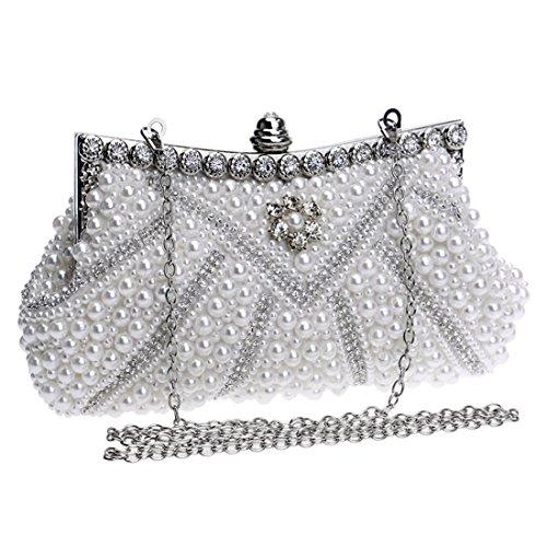 Purse Bag Clutch Crossbody Evening Women's Dress KERVINFENDRIYUN Color White Handbag White Bag Pearl WnxAwTqFH