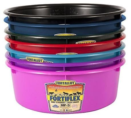 Fortiflex Mini Feed Pan for Dogs and Horses, 5-Quart, Bright Purple