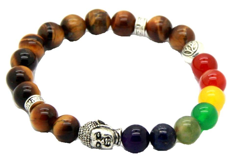 JY Jewelry Natural Tiger Eye Stone beads 7 Chakra Buddha Yoga Bracelet