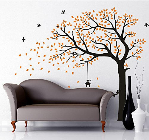 LUCKKYY Large Falling Family Tree Wall Decals Wall Sticks room decor wall stickers for living nursery Baby room (orange) (Falling Leaves Wall Sticker)