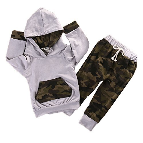 Boy Girls Camouflage Clothes Hooded T-shirt Tops+Pants Outfits, Camo Gray (0-6 Months) ()