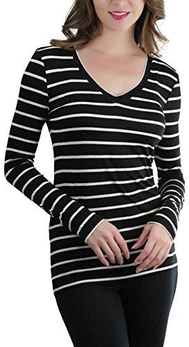 ToBeInStyle Women's Striped V-Neck Long Sleeve Top - Black/White - (White Stripe V-neck Top)