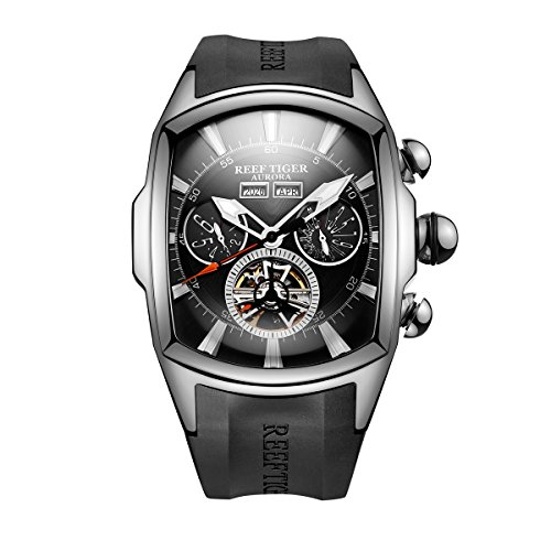 Reef Tiger Luminous Sport Watch for Men Tourbillon Analog Watches Rubber Strap RGA3069 … (RGA3069-YBB)