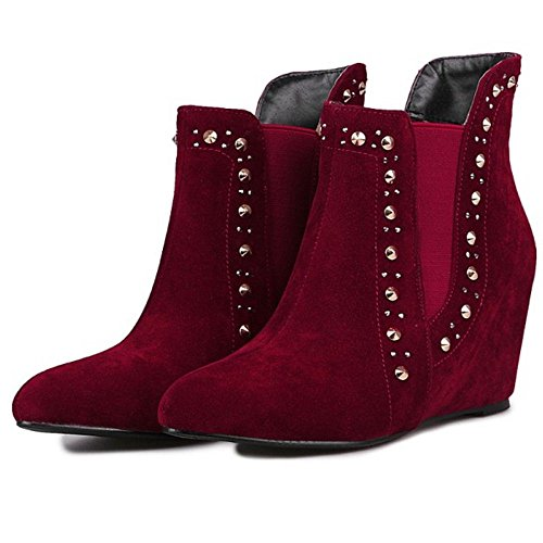 Dress Heels Fashion COOLCEPT Ankle Women's Wedges Boots Red AzIwnSqZ4