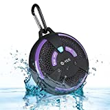 Q-YEE HD Water Resistant Bluetooth Speaker Mini Portable Wireless Speaker with Mic for Hands-free Call (Purple)