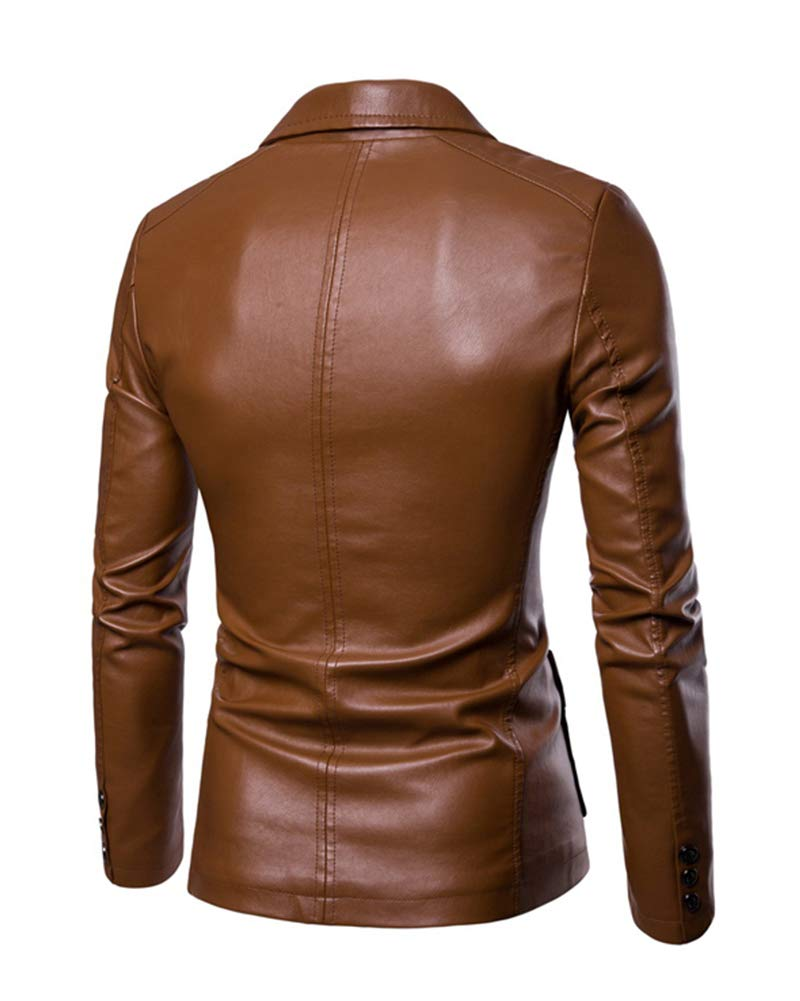 Yonglan Uomo Blazer di Pelle Pu Risvolto Grandi Dimensioni vestibilit/à Slim Giacca di Pelle