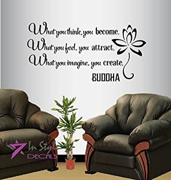 wall vinyl decal home decor art sticker buddha quote what you think you become what you - Amazon Home Decor
