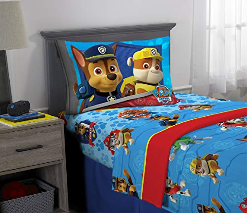 Nickelodeon Paw Patrol Kids Bedding Super Soft Microfiber Sheet Set, 3 Piece Twin Size, Blue/Red - Animal Sheet Antics
