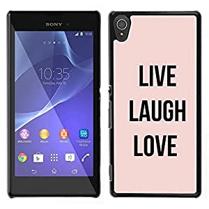 [Neutron-Star] Snap-on Series Teléfono Carcasa Funda Case Caso para Sony Xperia T3 [Live Laugh Love Peach Text Motivational]