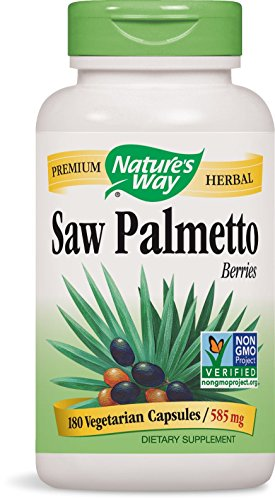 Saw Palmetto Capsules - Nature's Way Saw Palmetto Berries; 585 mg Saw Palmetto Berries per serving; Non-GMO Project Verified; TRU-ID Certified; Gluten-Free; Vegetarian; 180 Capsules