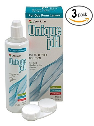 Menicon Unique pH Multi-Purpose Solution with RGP Lens Case.4 Fluid Ounce each - 3 Pack