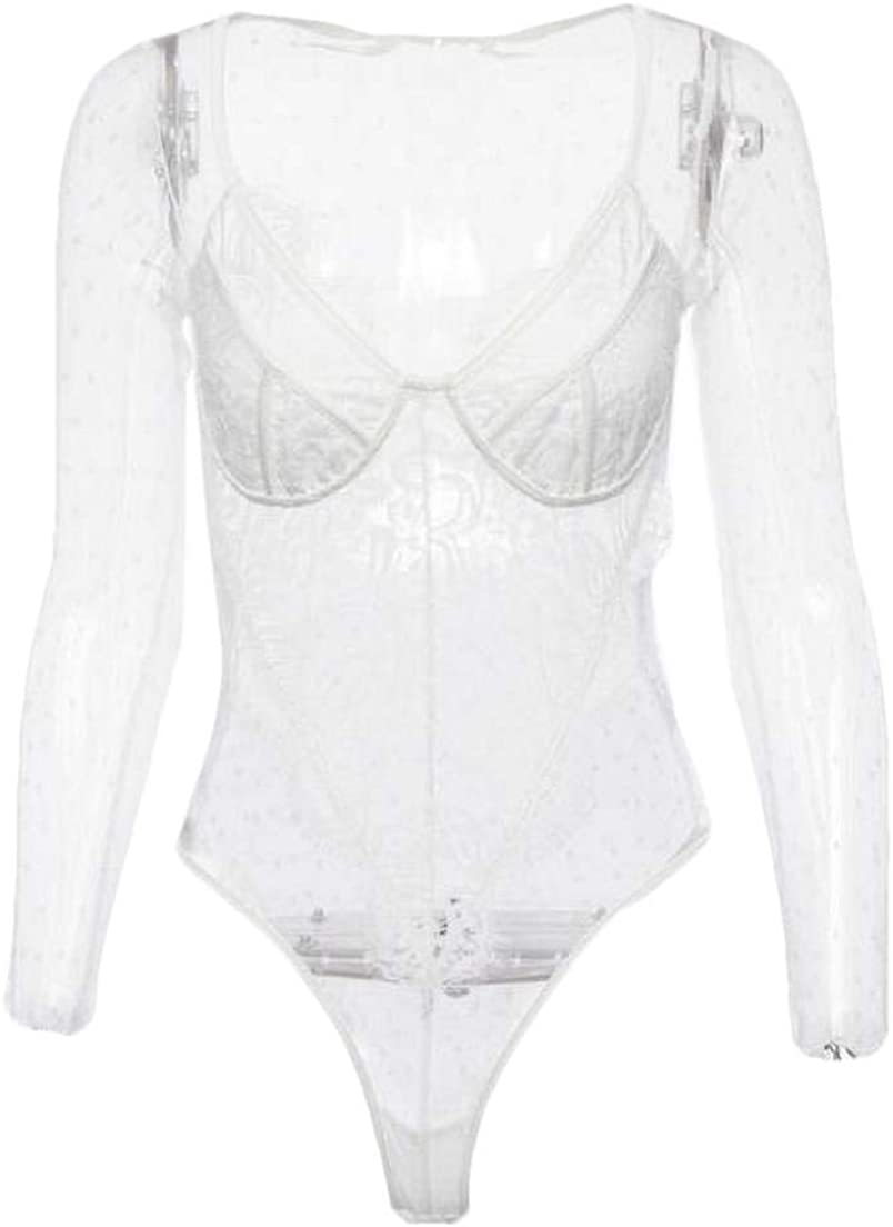 Zantt Womens Lace Long Sleeve Lingerie See-Through Bodysuits Jumpsuits