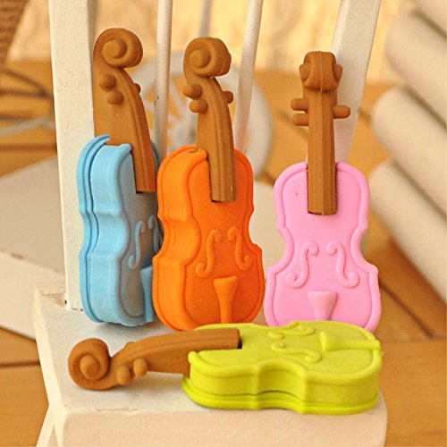 8pcs/Set Kawaii Cute Music Violin Shape Erasers for students school supplies Random Color Shipping hot sale