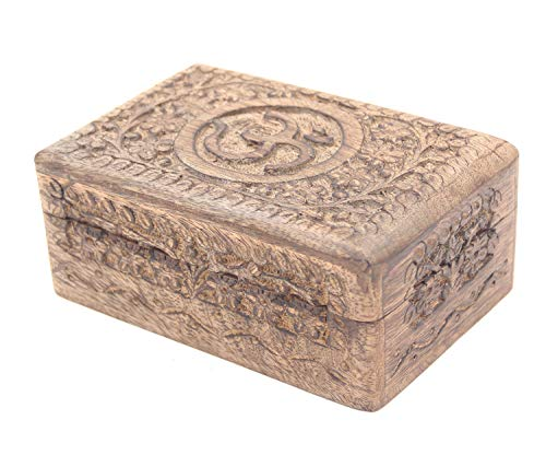 DharmaObjects Hand Carved Hindu OM Wooden Storage Box