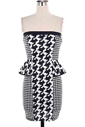 Buy black and white houndstooth strapless dress - 1