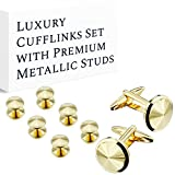 HAWSON Cufflink and Studs Tuxedo Set Gold Color with Platinum Finish Two Cufflinks with Six Shirt Studs Wrapped in Stylish Velvet Gift Bag