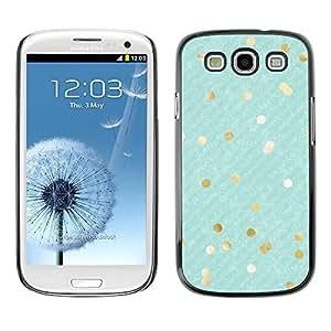 FECELL CITY // Duro Aluminio Pegatina PC Caso decorativo Funda Carcasa de Protección para Samsung Galaxy S3 I9300 // Gold White Flakes Diagonal Stripes