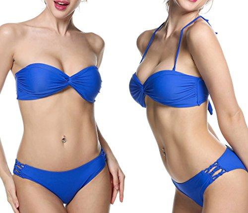Ekouaer Sexy Push Up Padded Bandeau Bikini Strapless Swimsuit for Womens (Blue) US 4/6=Tag Size 8