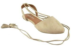 City Classified Flat Shoe Women Ankle Strap leg wrap Pointy Toe HOST Nude Beige Suede 9
