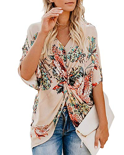 (Floral Tops for Women Plus Size Summer Sexy V-Neck Blouses Work Chiffon Bohemian Ladies Tops Apricot 2XL)