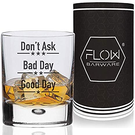 Buen día, mal día, no preguntes, vaso de whisky, regalo divertido para los amantes del whisky, vaso, ron, ginebra